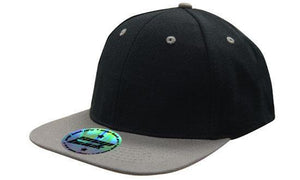 Headwear-Headwear Premium American Twill with Snap 59 Styling - Two Tone Cap-Black/Charcoal / Free Size-Uniform Wholesalers - 2