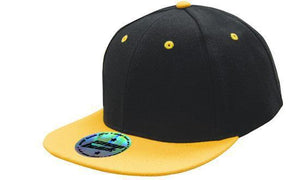 Headwear-Headwear Premium American Twill with Snap 59 Styling - Two Tone Cap-Black/Gold / Free Size-Uniform Wholesalers - 4