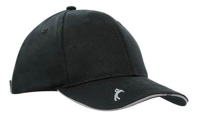 Headwear-Headwear Chino Twill with Peak Embroidery-Black/Charcoal / Free Size-Uniform Wholesalers - 2