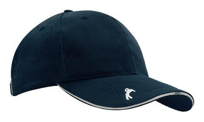 Headwear-Headwear Chino Twill with Peak Embroidery-Navy/White / Free Size-Uniform Wholesalers - 3