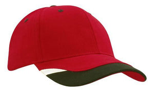 Headwear-Headwear Brushed Heavy Cotton with Peak Inserts & Printed Trim-Red/Black/White / Free Size-Uniform Wholesalers - 6