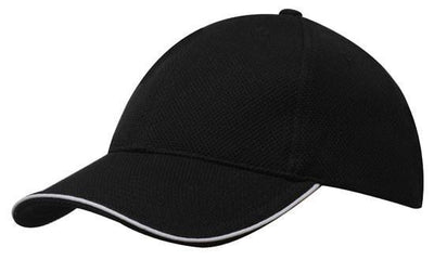 Headwear-Headwear Double Pique Mesh with Open Sandwich Cap -Black White-Uniform 5bb04a3e6683