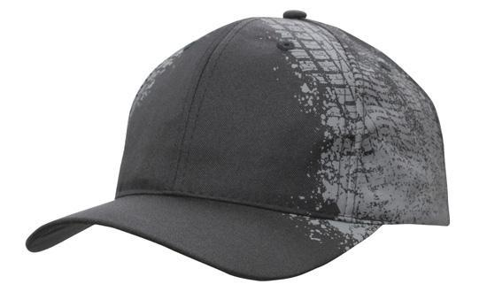 Headwear 6 Panel Breathable Poly Twill cap with Tyre print (4186)