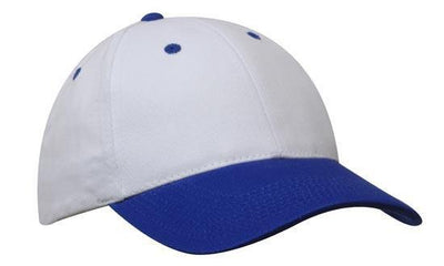 Headwear-Headwear Brushed Heavy Cotton-White/Royal / Free Size-Uniform Wholesalers - 34