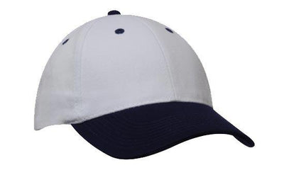 Headwear-Headwear Brushed Heavy Cotton-White/Navy / Free Size-Uniform Wholesalers - 32