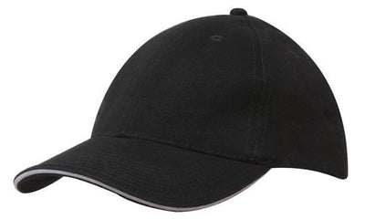 Headwear-Headwear Brushed Heavy Cotton with Sandwich Trim-Black/White / Free Size-Uniform Wholesalers - 5