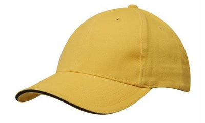 Headwear-Headwear Brushed Heavy Cotton with Sandwich Trim-Gold/Black / Free Size-Uniform Wholesalers - 8