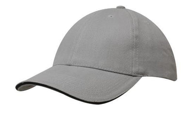 Headwear-Headwear Brushed Heavy Cotton with Sandwich Trim-Grey/Black / Free Size-Uniform Wholesalers - 9