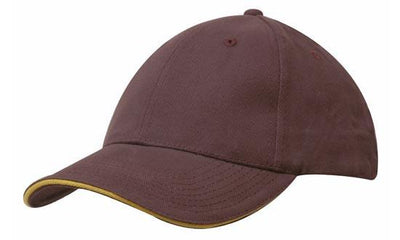 Headwear-Headwear Brushed Heavy Cotton with Sandwich Trim-Maroon/Gold / Free Size-Uniform Wholesalers - 10