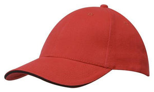 Headwear-Headwear Brushed Heavy Cotton with Sandwich Trim-Red/Black / Free Size-Uniform Wholesalers - 14