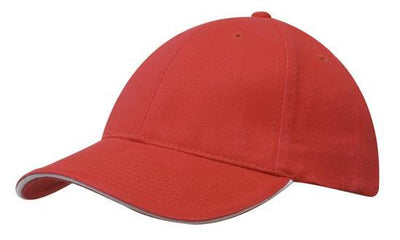 Headwear-Headwear Brushed Heavy Cotton with Sandwich Trim-Red/White / Free Size-Uniform Wholesalers - 15
