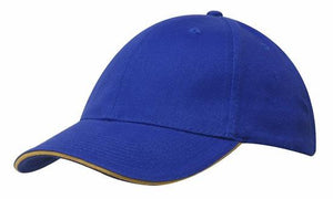 Headwear-Headwear Brushed Heavy Cotton with Sandwich Trim-Royal/Gold / Free Size-Uniform Wholesalers - 16