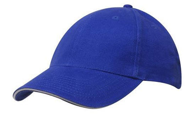 Headwear-Headwear Brushed Heavy Cotton with Sandwich Trim-Royal/White / Free Size-Uniform Wholesalers - 17