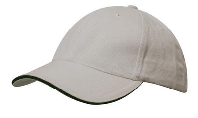 Headwear-Headwear Brushed Heavy Cotton with Sandwich Trim-Stone/Navy / Free Size-Uniform Wholesalers - 18