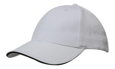 Headwear-Headwear Brushed Heavy Cotton with Sandwich Trim-White/Navy / Free Size-Uniform Wholesalers - 19
