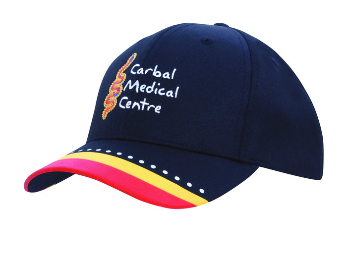 Headwear Breathable Poly Twill with Multi Coloured Printed Peak (4219)