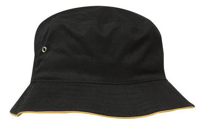 Headwear-Headwear Brushed Sports Twill Bucket Hat-Black/Gold / M-Uniform Wholesalers - 3