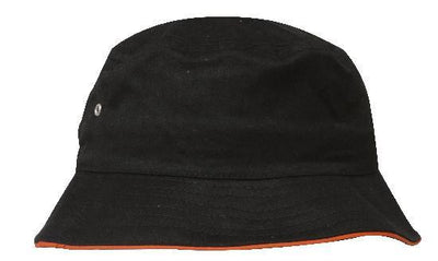 Headwear-Headwear Brushed Sports Twill Bucket Hat-Black/Orange / M-Uniform Wholesalers - 4