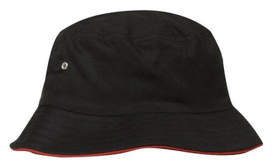 Headwear-Headwear Brushed Sports Twill Bucket Hat-Black/Red / M-Uniform Wholesalers - 5