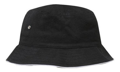 Headwear-Headwear Brushed Sports Twill Bucket Hat-Black/White / M-Uniform Wholesalers - 6