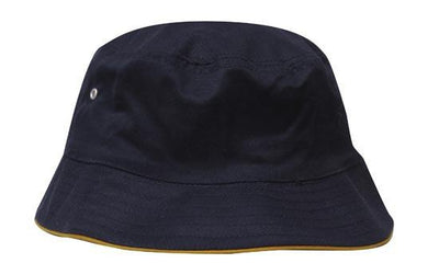 Headwear-Headwear Brushed Sports Twill Bucket Hat-Navy/Gold / M-Uniform Wholesalers - 11