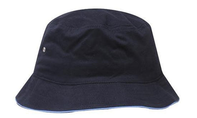 Headwear-Headwear Brushed Sports Twill Bucket Hat-Navy/Sky / M-Uniform Wholesalers - 13