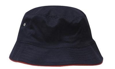 Headwear-Headwear Brushed Sports Twill Bucket Hat-Navy/Red / M-Uniform Wholesalers - 12