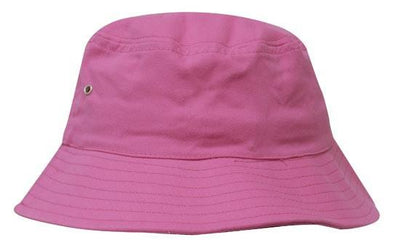 Headwear-Headwear Brushed Sports Twill Bucket Hat-Pink / M-Uniform Wholesalers - 16