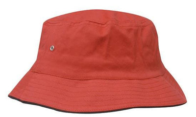 Headwear-Headwear Brushed Sports Twill Bucket Hat-Red/Black / M-Uniform Wholesalers - 18