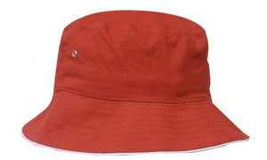 Headwear-Headwear Brushed Sports Twill Bucket Hat-Red/White / M-Uniform Wholesalers - 19