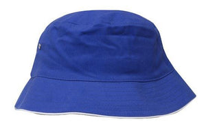 Headwear-Headwear Brushed Sports Twill Bucket Hat-Royal/White / M-Uniform Wholesalers - 20