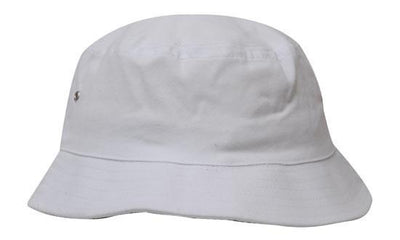 36cff33c62c Headwear-Headwear Brushed Sports Twill Bucket Hat-White   M-Uniform  Wholesalers -