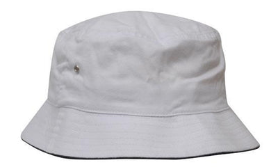 Headwear-Headwear Brushed Sports Twill Bucket Hat-White/Navy / M-Uniform Wholesalers - 23