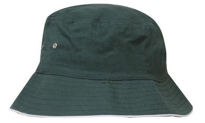 Headwear-Headwear Brushed Sports Twill Bucket Hat-Bottle/White / M-Uniform Wholesalers - 7
