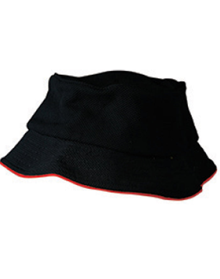 Winning Spirit Pique Mesh With Sandwich Bucket Hat (CH71)