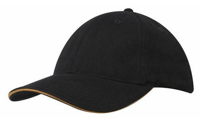 Headwear-Headwear Brushed Heavy Cotton with Sandwich Trim-Black/Gold / Free Size-Uniform Wholesalers - 2