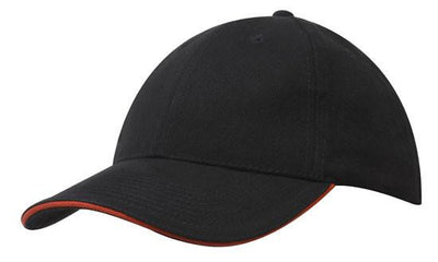 Headwear-Headwear Brushed Heavy Cotton with Sandwich Trim-Black/Orange / Free Size-Uniform Wholesalers - 3