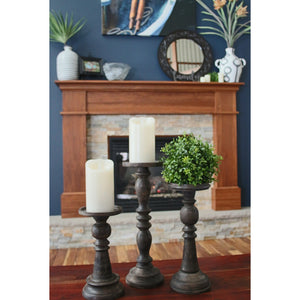 SD Espresso Pillar Candle Holders (Set of 3)