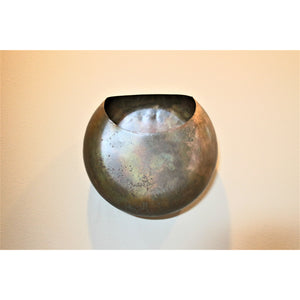 Aged Brass Metal Wall Vase