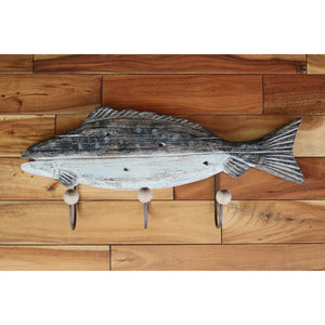 Wood Fish Wall Hook Trio