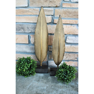 Metal Table Top Feather Sculptures (Set of 2)