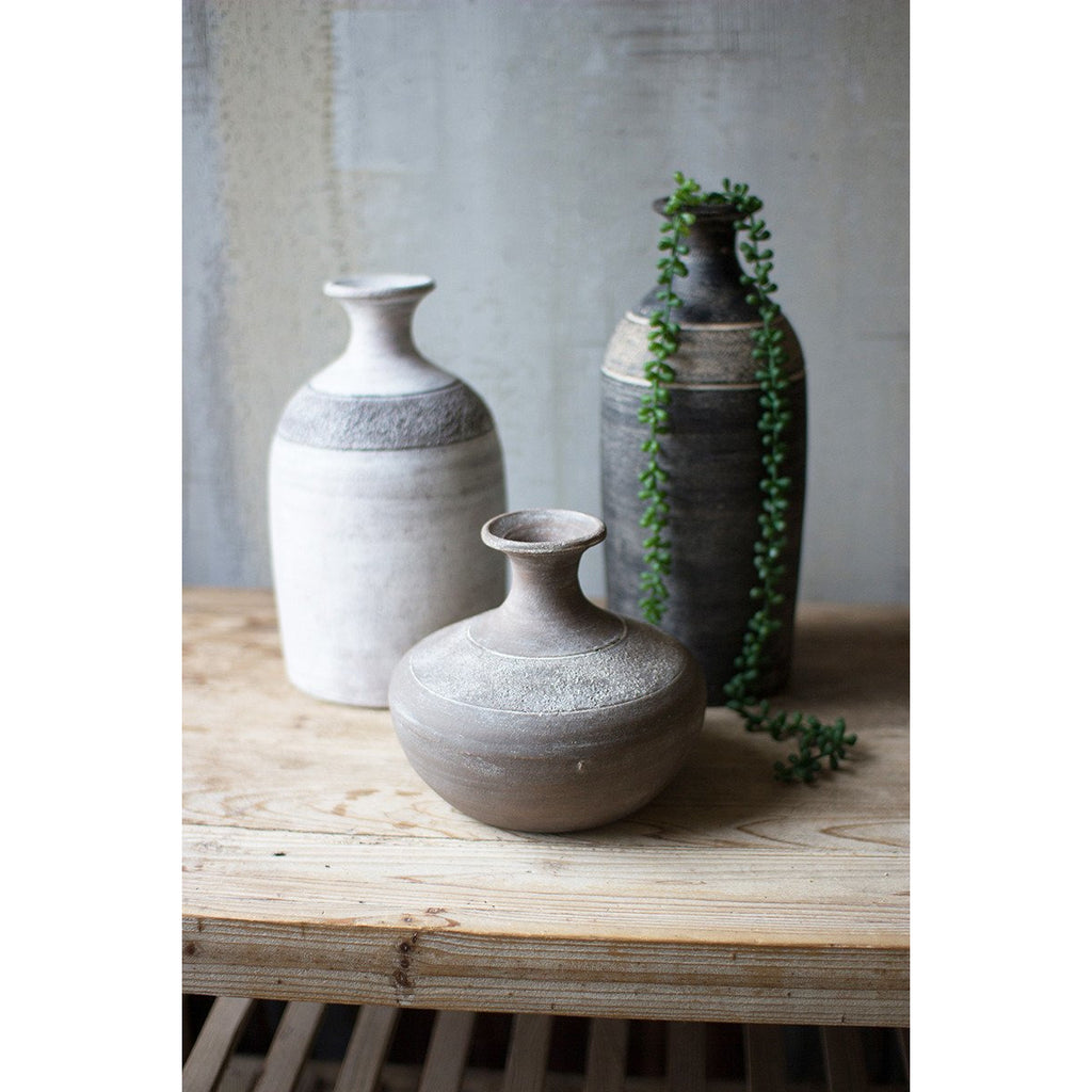 Black, Grey & White Clay Vessels (Set of 3)