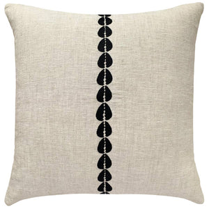 Cowrie Embroidered Pillow - Natural