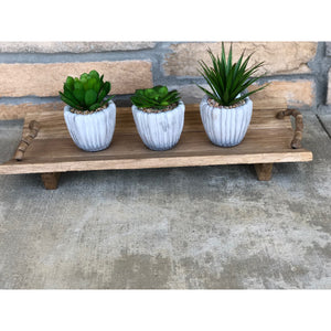 Small Slatted Wooden Tray With Wooden Beaded Handles