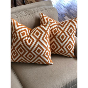 Burnt Orange Geometric Pillow