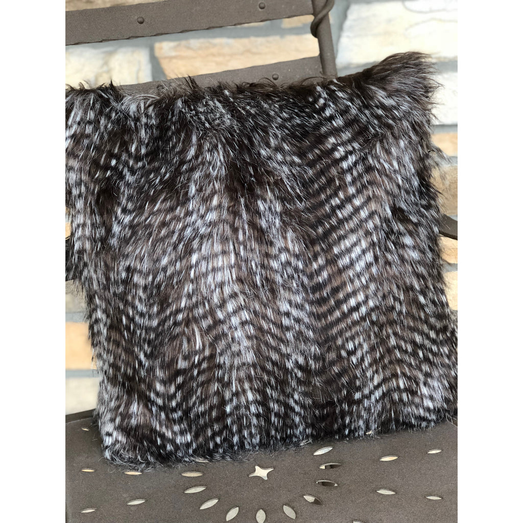 Faux Feather Pillow - Dark