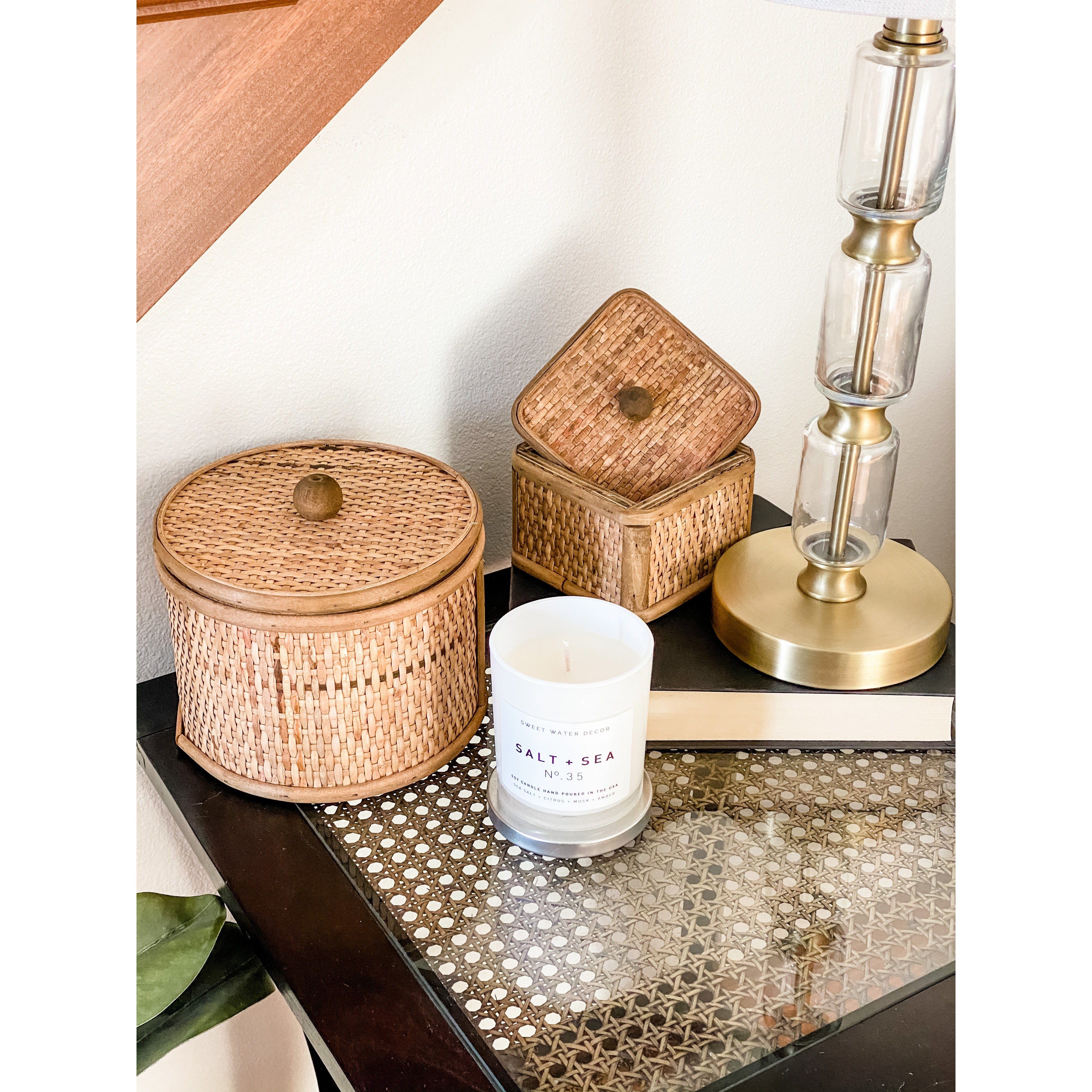 Woven Cane Boxes (Set of 2)