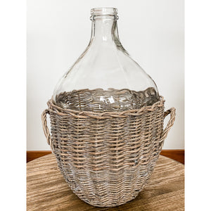 Clear Glass Bottle With Wicker Wrap