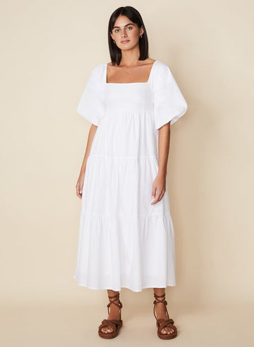 FAITHFULL THE BRAND KIONA MIDI DRESS, PLAIN WHITE