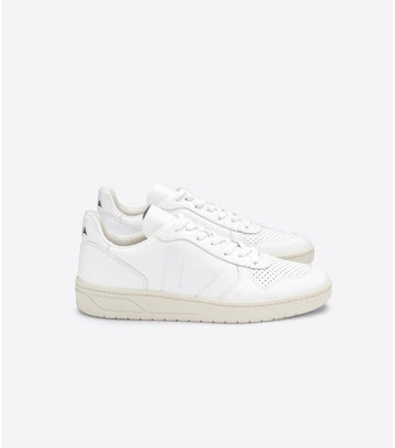 VEJA V-10 LEATHER SNEAKER, EXTRA-WHITE
